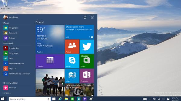 schermata Microsoft WIndows 10